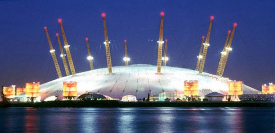 Millennium Dome illuminated at night - London, England