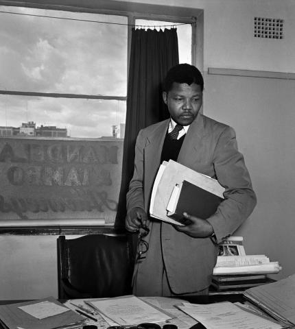 Nelson Mandela in his law office, 1952